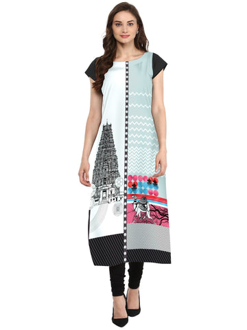 Multi Color Crepe Stitched Kurti - tfkucrdp-10114