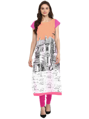 Multi Color Crepe Stitched Kurti - tfkucrdp-10116