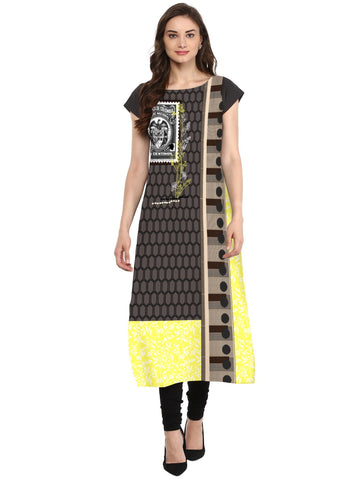 Multi Color Crepe Stitched Kurti - tfkucrdp-10117