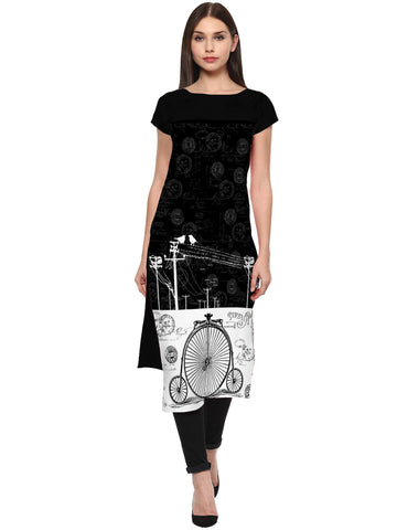 Black Color Crepe Stitched Kurti - tfkucrdp-10122
