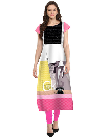 Multi Color Crepe Stitched Kurti - tfkucrdp-10123