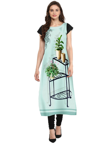 Multi Color Crepe Stitched Kurti - tfkucrdp-10124