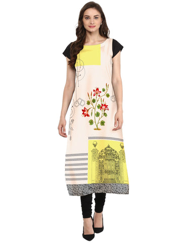 Multi Color Crepe Stitched Kurti - tfkucrdp-101251