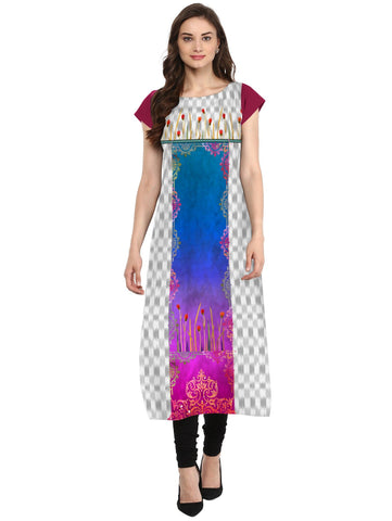 Multi Color Crepe Stitched Kurti - tfkucrdp-10128