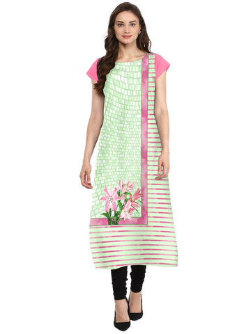 Multi Color Crepe Stitched Kurti - tfkucrdp-10129