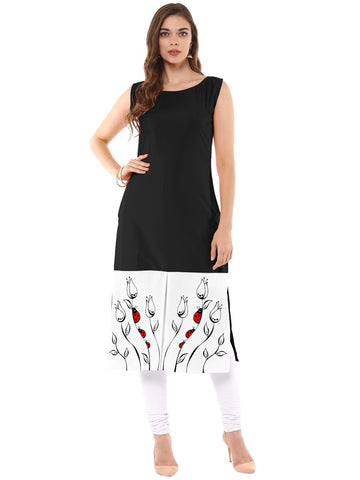 Black Color Crepe Stitched Kurti - tfkucrdp-101321