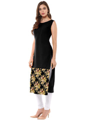 Black Color Crepe Stitched Kurti - tfkucrdp-10135