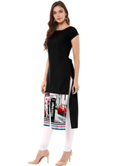 Black Color Crepe Stitched Kurti - tfkucrdp-10136