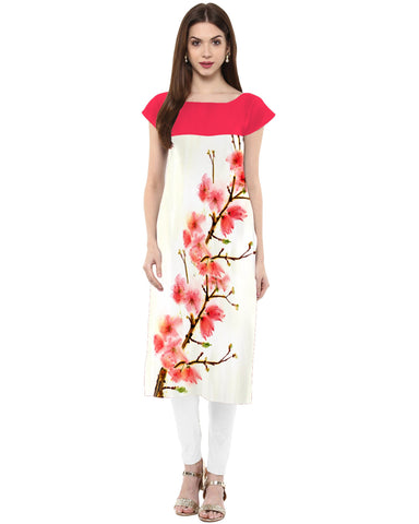 OffWhite Color Crepe Stitched Kurti - tfkucrdp-10137