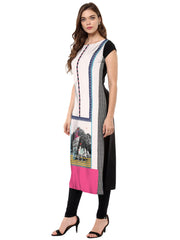 Multi Color Crepe Stitched Kurti - tfkucrdp-10138