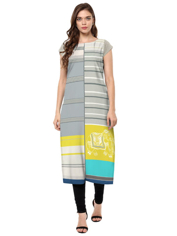 Multi Color Crepe Stitched Kurti - tfkucrdp-10139