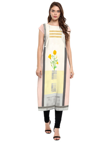 Multi Color Crepe Stitched Kurti - tfkucrdp-10140
