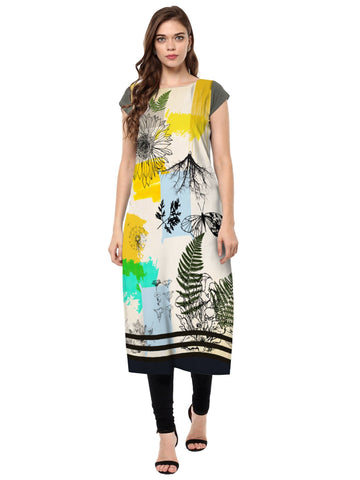 Multi Color Crepe Stitched Kurti - tfkucrdp-10141