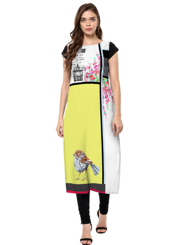 Multi Color Crepe Stitched Kurti - tfkucrdp-10142