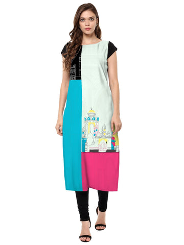 Multi Color Crepe Stitched Kurti - tfkucrdp-10144