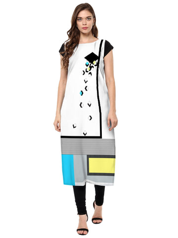 Multi Color Crepe Stitched Kurti - tfkucrdp-10145