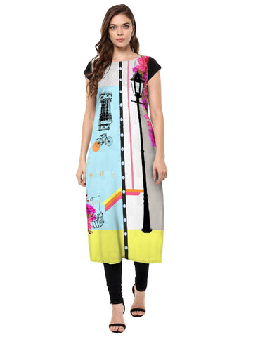 Multi Color Crepe Stitched Kurti - tfkucrdp-10147-1