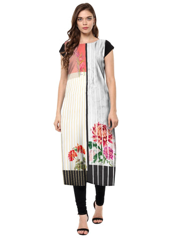 Multi Color Crepe Stitched Kurti - tfkucrdp-10148-1
