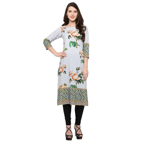 OffWhite Color Crepe Stitched Kurti - tfkucrdp-10151-1