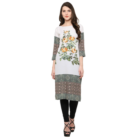 Multi Color Crepe Stitched Kurti - tfkucrdp-10152-1