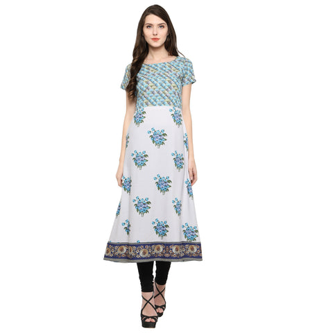 White Color Crepe Stitched Kurti - tfkucrdp-10173-1