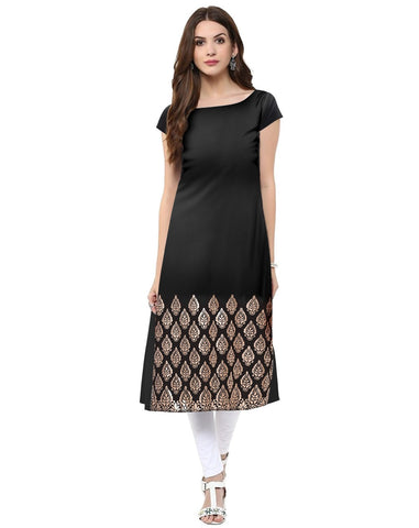 Black Color Crepe Stitched Kurti - tfkucrfp-10051-1