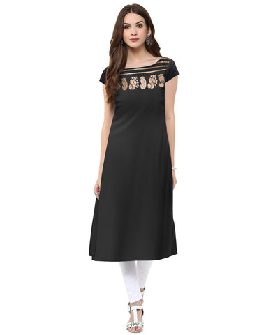 Black Color Crepe Stitched Kurti - tfkucrfp-10052-1