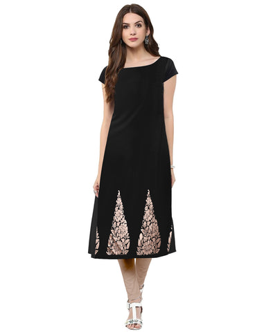 Black Color Crepe Stitched Kurti - tfkucrfp-10055-1