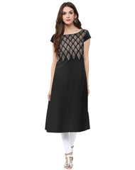 Black Color Crepe Stitched Kurti - tfkucrfp-10056-1