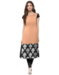 Peach Color Crepe Kurti
