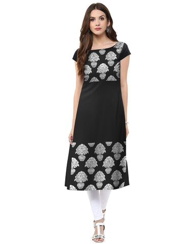 Black Color Crepe Stitched Kurti - tfkucrfp-10058-1