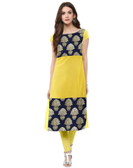 Yellow Color Crepe Kurti