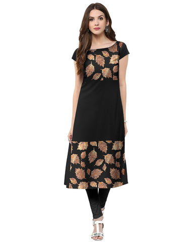 Black Color Crepe Stitched Kurti - tfkucrfp-10065-1
