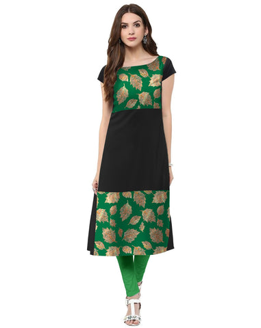 Black Color Crepe Stitched Kurti - tfkucrfp-10068-1
