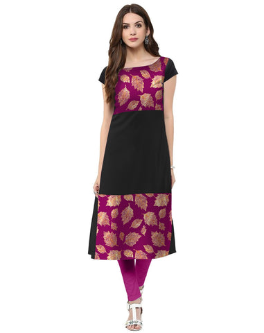 Black Color Crepe Stitched Kurti - tfkucrfp-10069-1