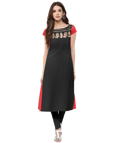 Black Color Crepe Stitched Kurti - tfkucrfp-10070-1