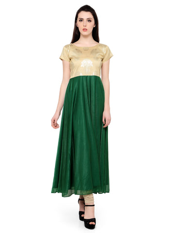 Green Color Crepe Stitched Kurti - tfkucrfp10086-1