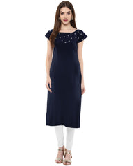 Blue Color Crepe Kurti