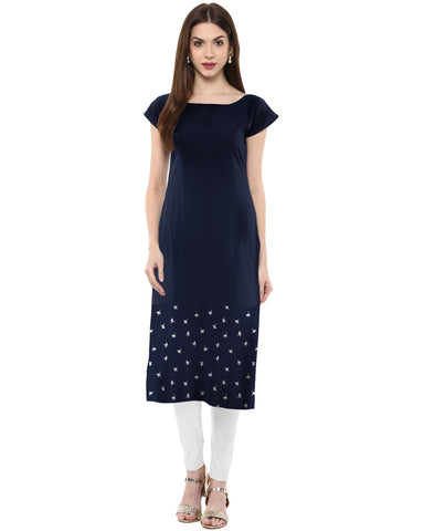 Blue Color Crepe Kurti - tfkucrmp-10031-1