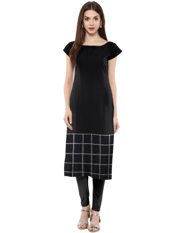 Black Color Crepe Stitched  Kurti - tfkucrmp-10035-1