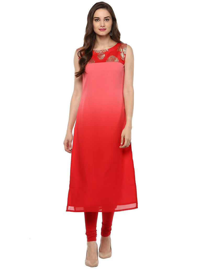 Red Color Georegtte Kurti
