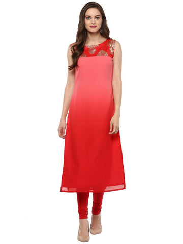 Red Color Georegtte Stitched Kurti - tfkugrfp-10099-1