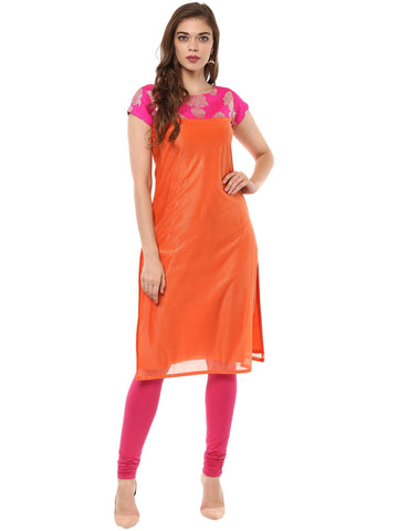Orange Color Lycra Stitched Kurti - tfkulyfp-10106-1