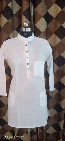 White Color Poly Rayon Women's Stitched Kurti - three-pocket-shirt-2
