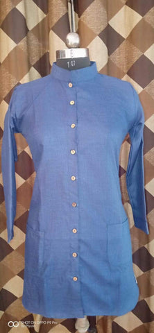 Blue Color Poly Rayon Women's Stitched Kurti - three-pocket-shirt-3