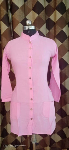 Light Pink Color Poly Rayon Women's Stitched Kurti - three-pocket-shirt-4