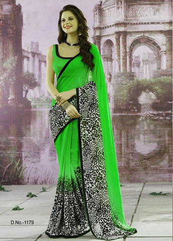 Green Color Chiffon Saree - tiger-green