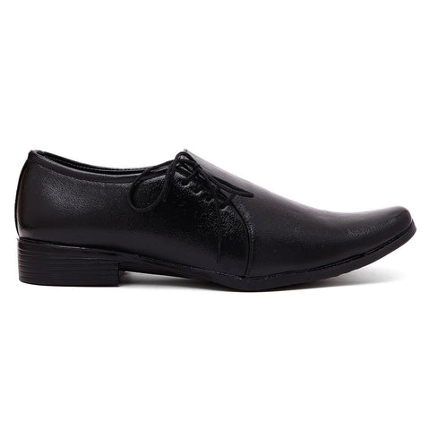 Black Color Synthtic Leather Men Shoe - tpn220