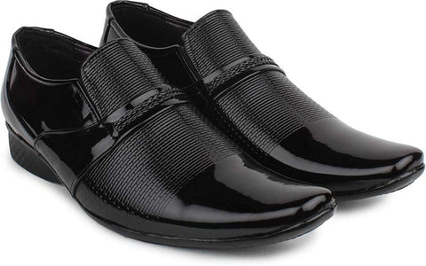 Black Color Synthtic Leather Men Shoe - tpn236-205