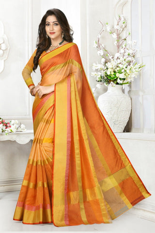 Orange and Peach Color Cotton Kota Doria Saree - triveni-orange peach